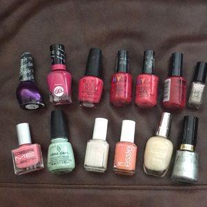 Lot of 13 nail polishes Essie, Opi, China glaze